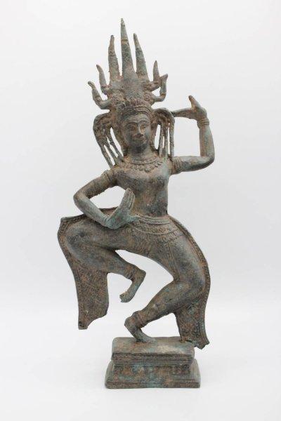 Tanzende Apsara Figur aus Bronze, Thailand