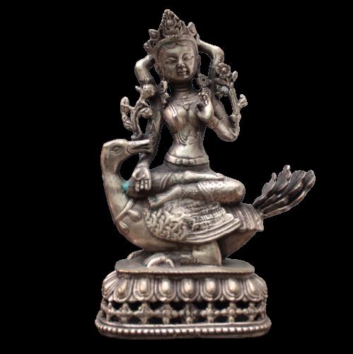 Kwanyin Buddha Figur auf Ente (21cm) Bronze Guanyin