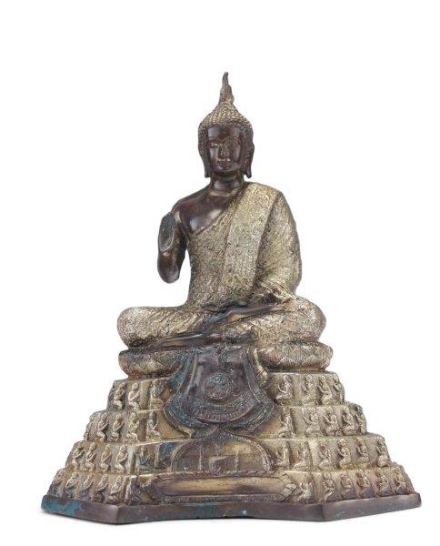 Thai Buddha Figur aus Bronze / Messing