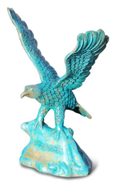 Adler Figur aus Bronze, Patina