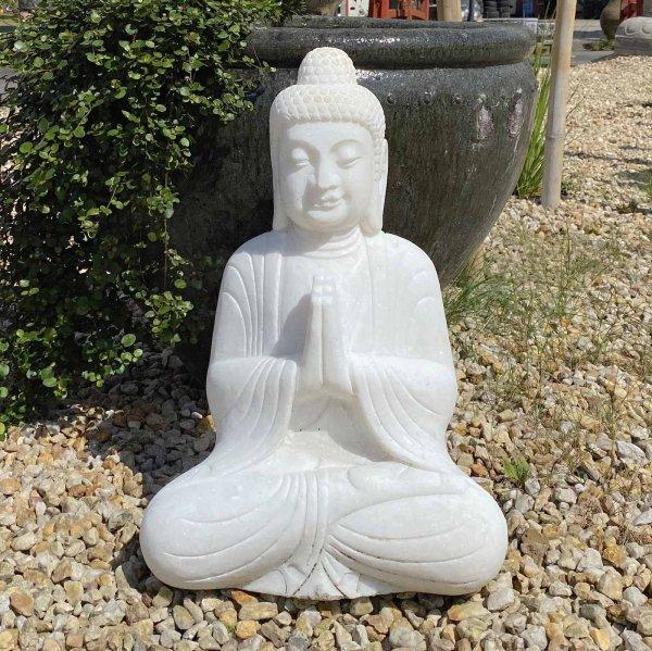 Garten Buddha Statue Marmor (62cm) Namaskar Mudra Figur