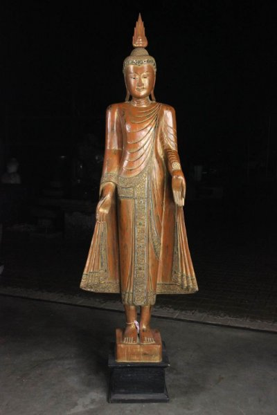 Thailändische Buddha Statue aus Holz, Stehend