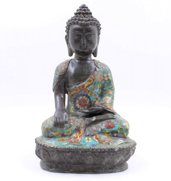 Siddharta Cloisonné Buddha (29,5cm) Bronze Figur Tibet