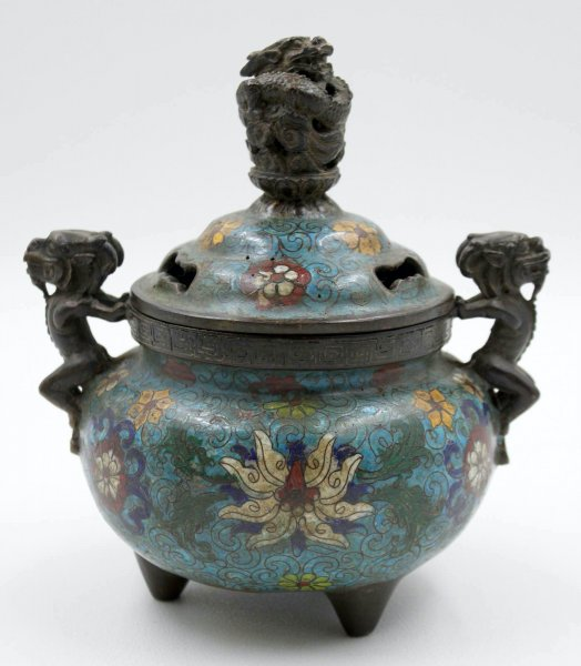 China Bronze Räuchergefäß mit Drachen, Cloisonne