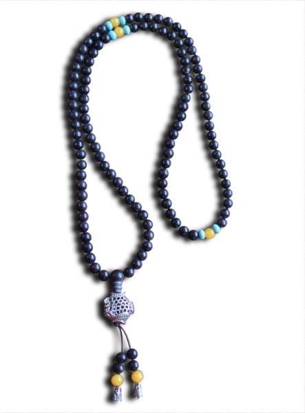 Buddhistische Halskette Mala, Ebenolz, mit Koi Fisch