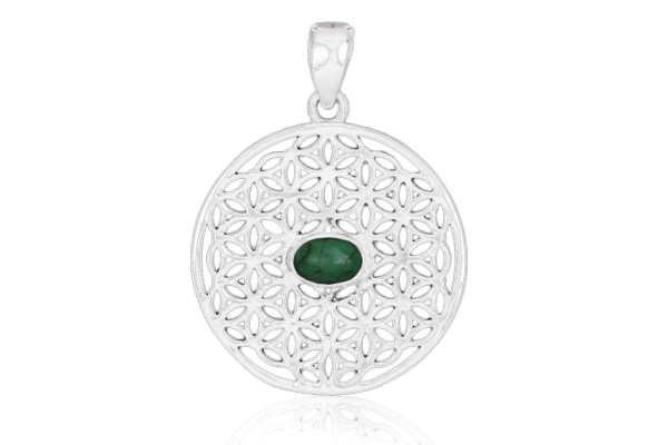 Blume des Lebens Anhänger mit Smaragd, 925er Silber
