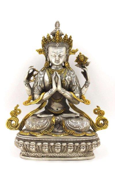 30cm Buddha Figur Chenrezig Avalokiteshvara, Bronze