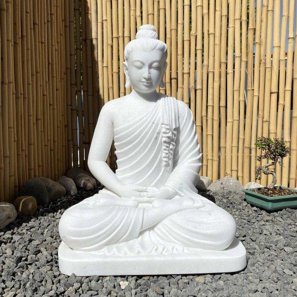 Amitabha Buddha (63cm) Statue aus Marmorstein - Bildhauerarbeit