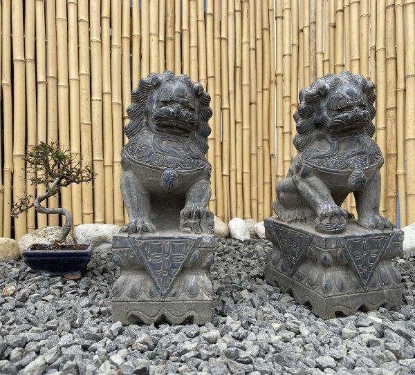 Chinesische Tempellöwen (40cm) aus Naturstein