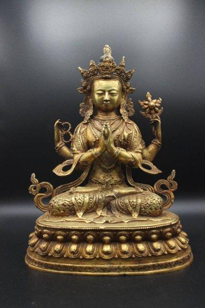 Buddha Figur Chenrezig Avalokiteshvara, Bronze