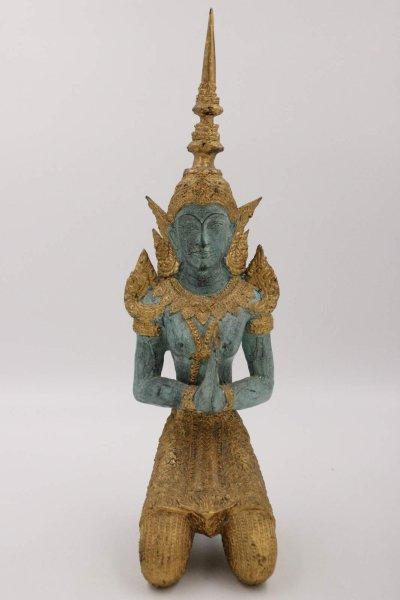 42,5cm Tempelwächter - Teppanom Figur aus Bronze, Thailand
