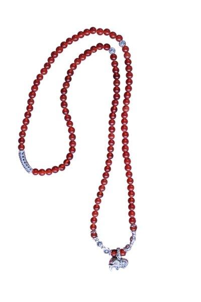 Buddhistische Halskette Mala, roter Achat mit Elefant