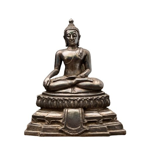 Alte Siddharta Buddha Figur (24cm) aus Nachlass Silber ummantelt