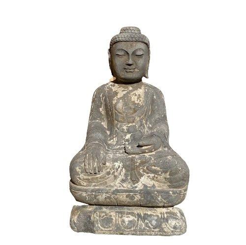 Garten Buddha (70cm) Naturstein Statue Siddharta Gautama