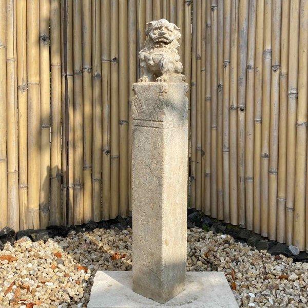 Tempellöwe (100cm) Garten Stele/Säule aus Naturstein - China
