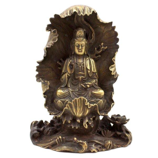 Chinesische Guanyin Buddha Figur (17,5cm) Bronze Kwanyin Statue
