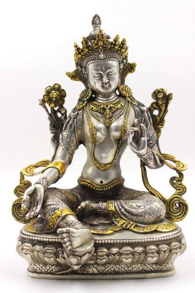 Grüne Tara Buddha Figur aus Bronze - 30,5cm groß