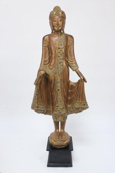 Thailand Buddha Statue aus Holz, 148cm