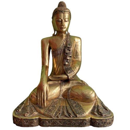 75cm große Holz Buddha Figur - blattvergoldet Thailand