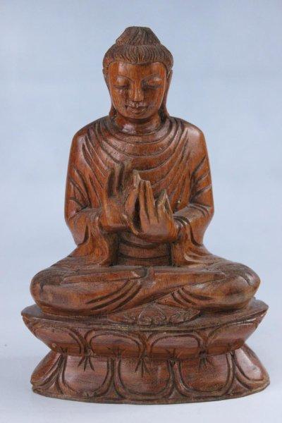 Buddha Holz-Figur mit Rad der Lehre