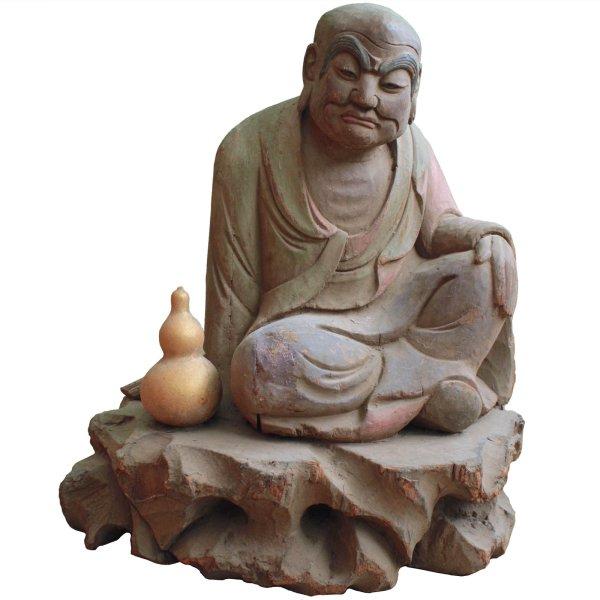 Arhat Lohan Bettelmönch Statue (56cm) China Holz Figur Asket