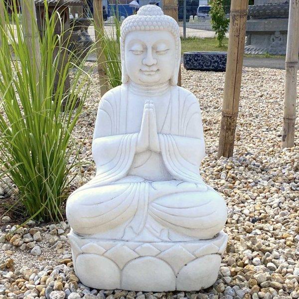 Marmor Stein Buddha (71cm) Statue Auf Lotupodest