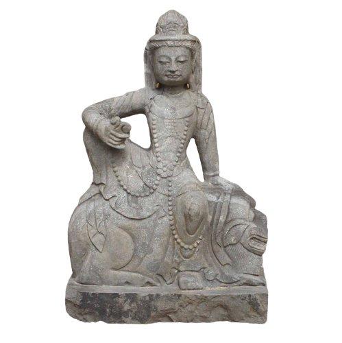 Kwan Yin Garten Buddha Statue (62cm) Auf Fu Dog Sitzend