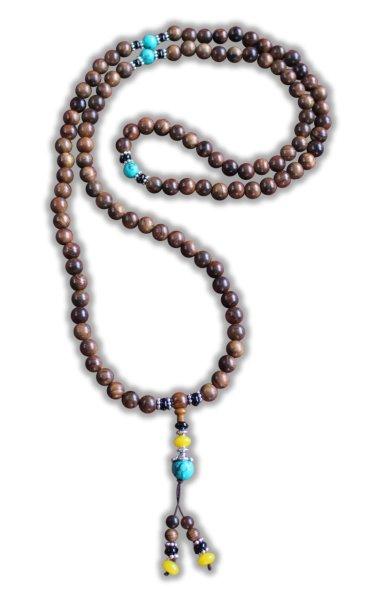 Buddhistische Halskette Mala, Rosenholz