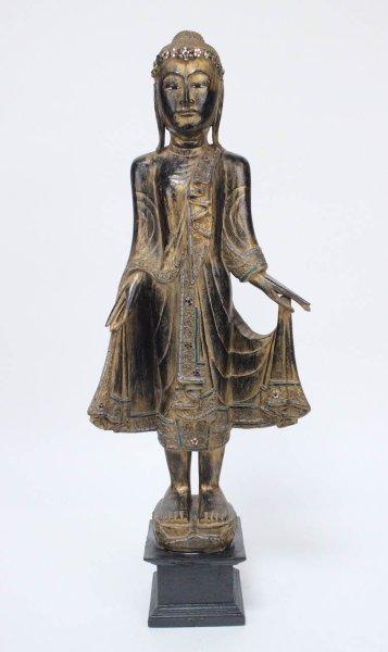 118 cm großer Holz Buddha, Schwarz-Gold