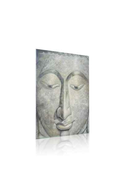 Gemälde Buddhakopf mit Öl und Acryl gemalt