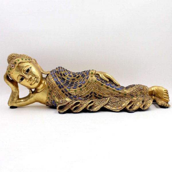 Nirwana Buddha Figur Holz (58cm) Wochentagsbuddha