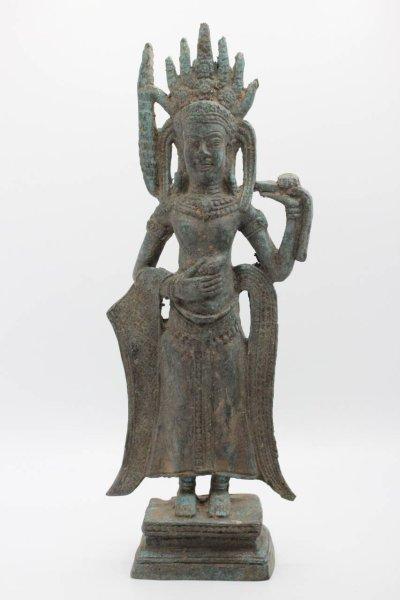 Stehende Apsara Figur aus Bronze, Thailand