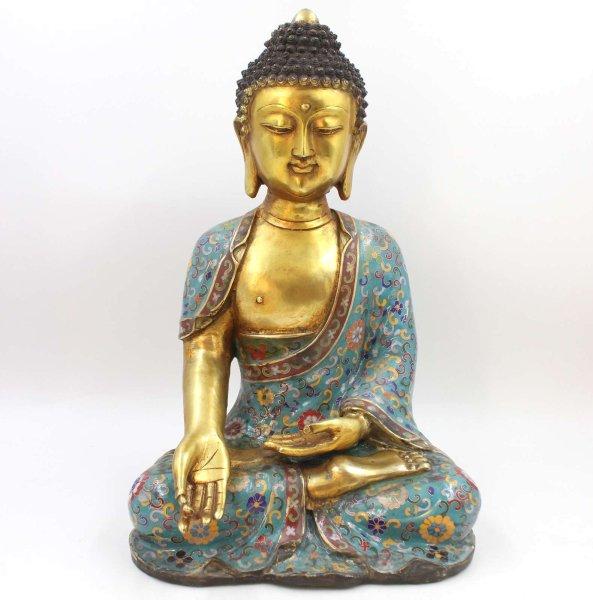 Ratnasambhava Buddha Figur (45cm) Cloisonné Bronze Statue