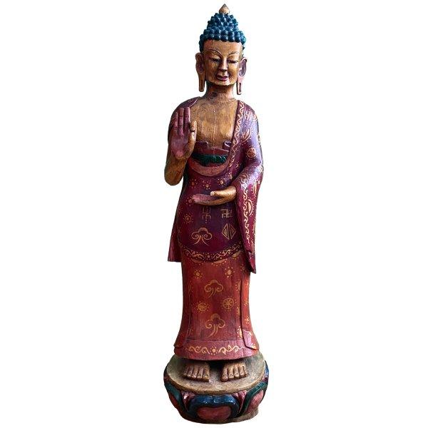 Bemalte Holz Buddha Figur (132cm) Tibet Skulptur