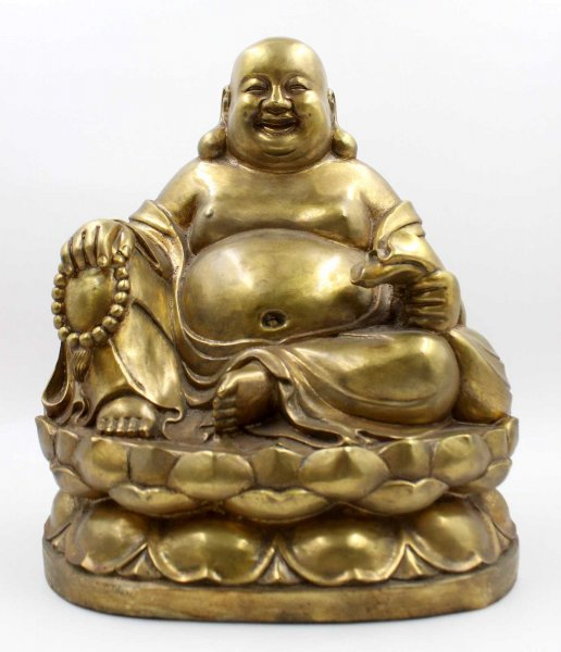 Happy Buddha Figur Bronze (37cm) Hotai Budda China