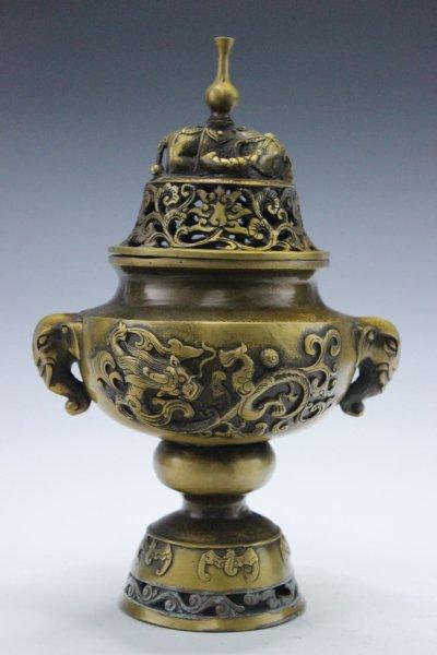 Räuchergefäß aus Bronze mit Fledermäusen, Drachen & Elefanten