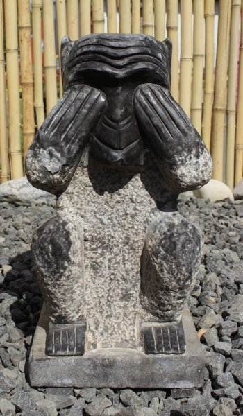 Steinfigur Affe - Nichts Sehen, 30 cm