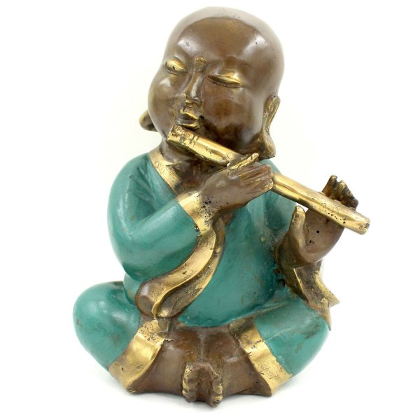 Chinesische Mönch Figur mit Flöte (21cm) Bronze