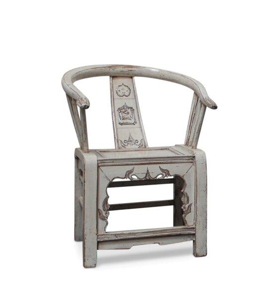 Chinesischer Rundlehnen Stuhl (90cm) Holz Sessel, Weiß