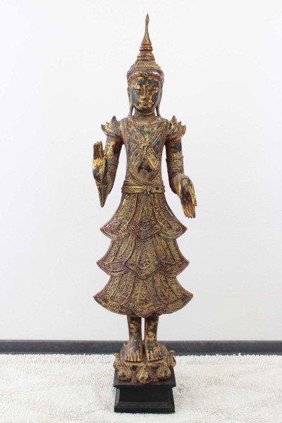 Holz Buddha Figur mit lehrender Geste