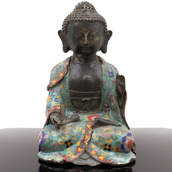 Cloisonne Buddha Figur Amogasiddhi aus Bronze