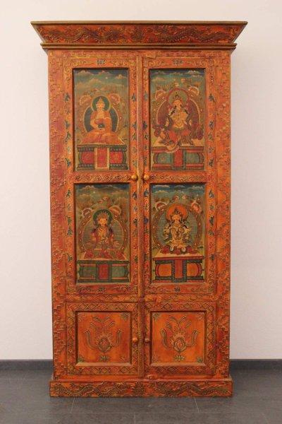 Nepal Teakholz Schrank - mit Buddha Verzierung