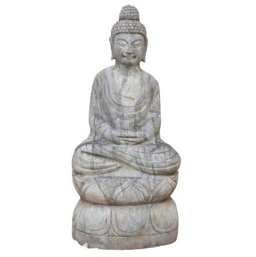 Naturstein Amitabha Buddha (68cm) Garten Statue