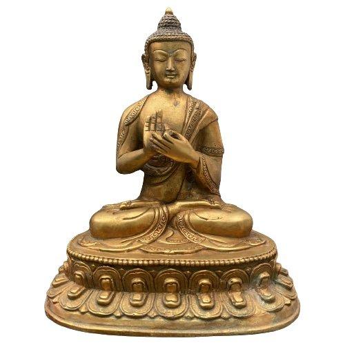 Dharmachakra Mudra Buddha Figur Vergoldet (21,5cm) Bronze Statue Himalaya