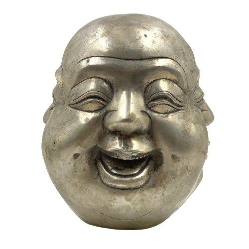 Happy Buddha Kopf 4 Faces (20cm) Bronze