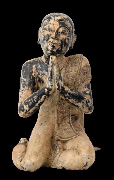 Namaskar Mudra Mönch Figur (78cm) Sariputta Holz Statue