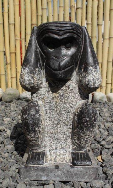 Steinfigur Affe - Nichts Hören 30,5 cm