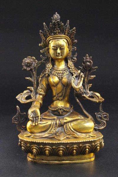 Weiße Tara Buddha Figur in Bronze