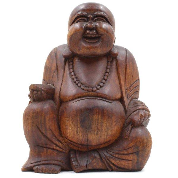 Lachender Hotai Buddha (21cm) Holz Figur Südostasien