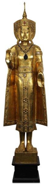 Holz Buddha Statue - blattvergoldet